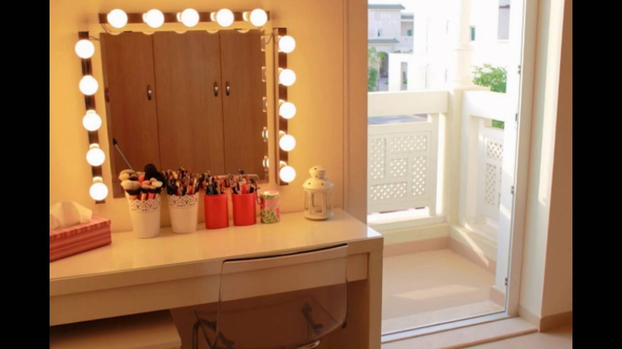 makeup table with mirror and lights youtube. Black Bedroom Furniture Sets. Home Design Ideas