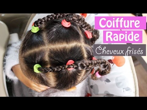 Coiffure Enfant Cheveux Frisu00e9s Cru00e9pus // Coiffure Rapide - YouTube
