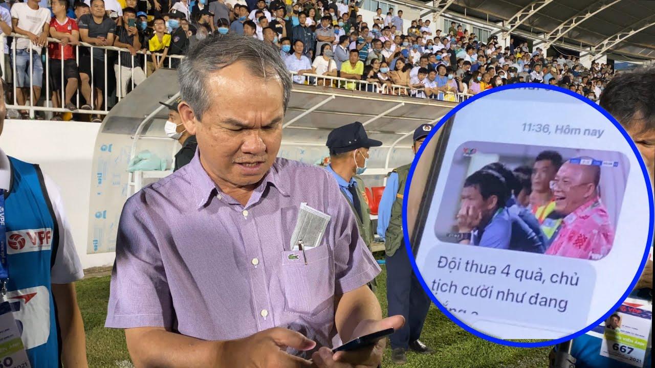 Cận cảnh bầu Đức cà khịa Than Quảng Ninh thua Hà Nội mà cười toe toét