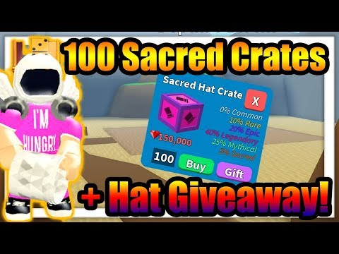 All Hats In My Roblox Game Opening 100 Sacred Crates Giving Away All My Hats Treasure Hunt Simulator Roblox Youtube