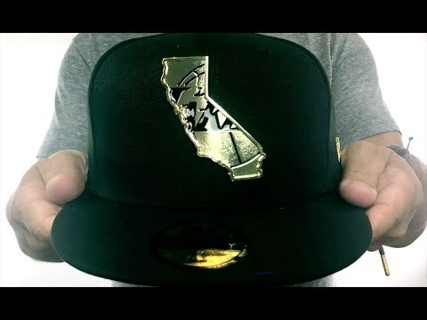 4f163ec1b9675 Lakers  GOLD STATED METAL-BADGE  Black Fitted Hat by New Era - YouTube