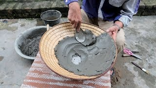 Fantastic Cement And Ideas - How To Make A Flower Pots From Mother's hat - Hat Pots Making