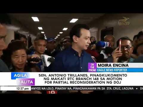 Senador  Antonio Trillanes, pinagkukomento ng Makati RTC branch 148 sa motion for partial reconsider