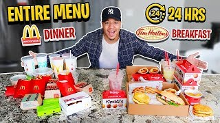 I Bought The ENTIRE Menu For EVERY MEAL For 24 Hours!! (Impossible Food Challenge) MCDONALDS & MORE