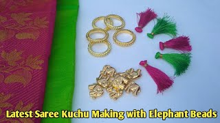 Very Easy Saree Kuchu Making Tutorial | Elephant beads Kuchu design | Latest Saree Tassels Making