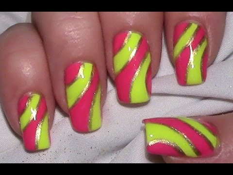 Pink & Yellow Neon Nail Art Design (tutorial with nail polish / for ...