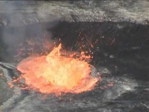 Eruption after person falls in lava lake of volcano (test with organic waste, garbage, trash)