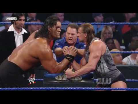 Triple H vs. The Great Khali (Broken Glass Arm Wrestling) (2/2)