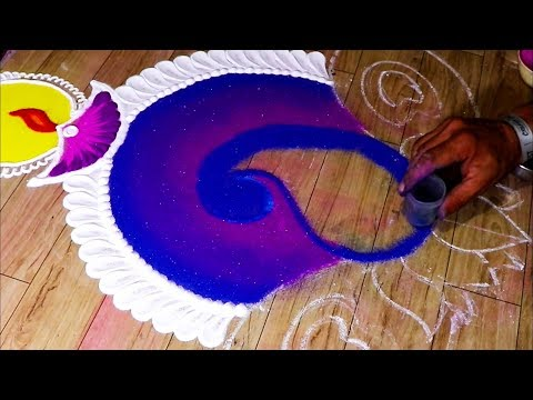 very creative and attractive rangoli for Diwali. दिवाली के लिए आकर्षक रंगोली।