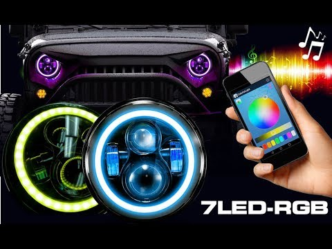 Genssi 7 Led Rgb Color Changing Halo Headlights Youtube