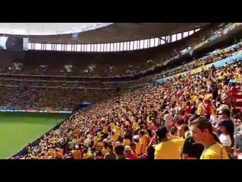Brazil World Cup 2014-Colombia-Ivory Coast 2-1-National Anthems--Priceless-Yellow fever!