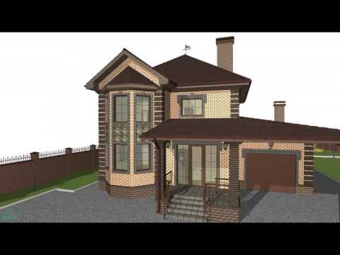 Типовой проект двухэтажного жилого дома с гаражом  C-057-ТП