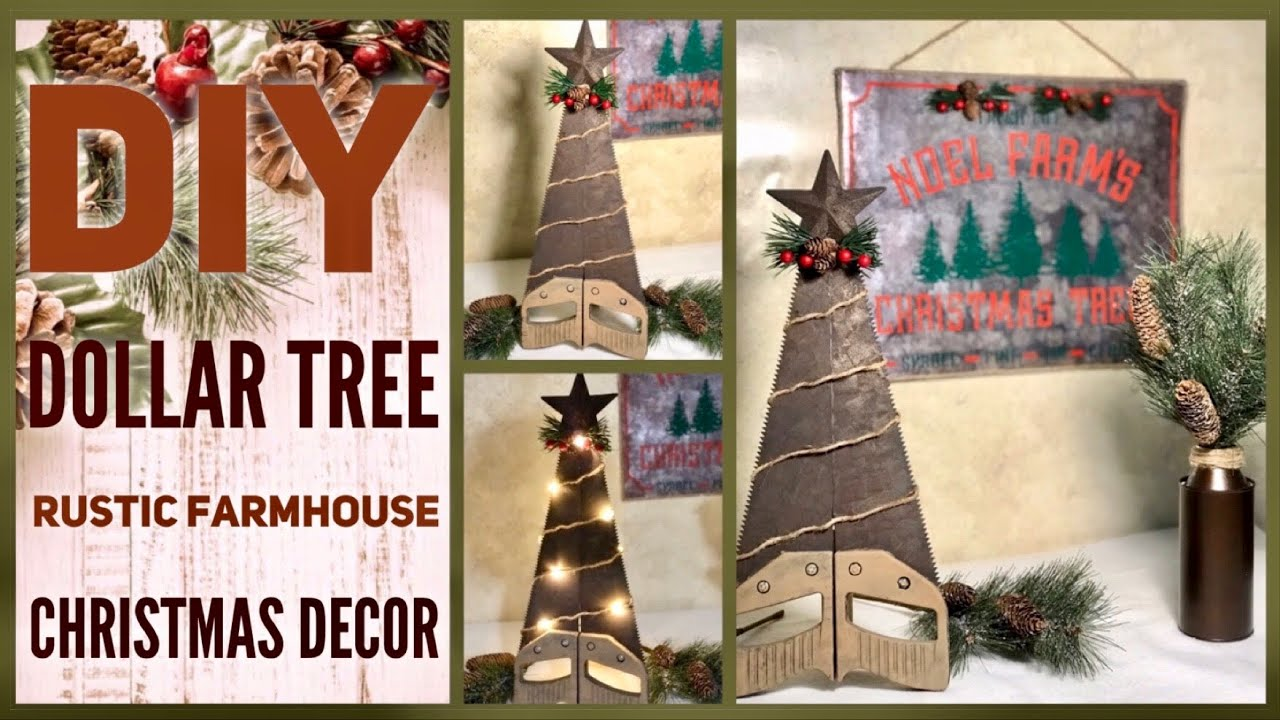 Diy Dollar Tree Rustic Farmhouse Christmas Decor Ideas 2019 Hand Saw Xmas Tree Gift Idea For Him Youtube