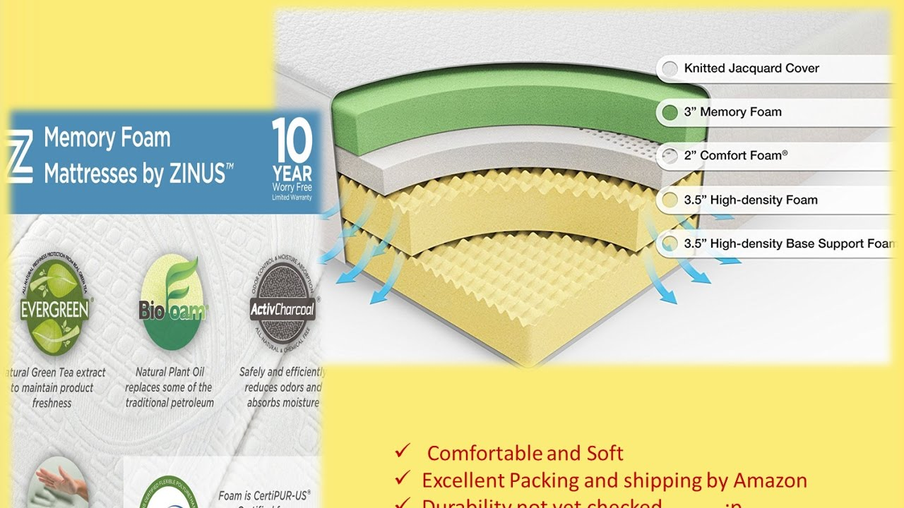 green tea memory foam Review Zinus memory foam 12 inch green tea mattress   YouTube green tea memory foam