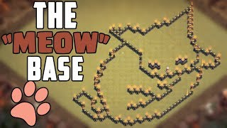 Clash Of Clans Troll Base Design The Sleeping Cat ( MEOW BASE ) For multiple Townhalls!
