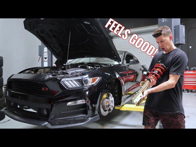 Mustang GT gets LOW & STIFF! (Full Roush kit!)