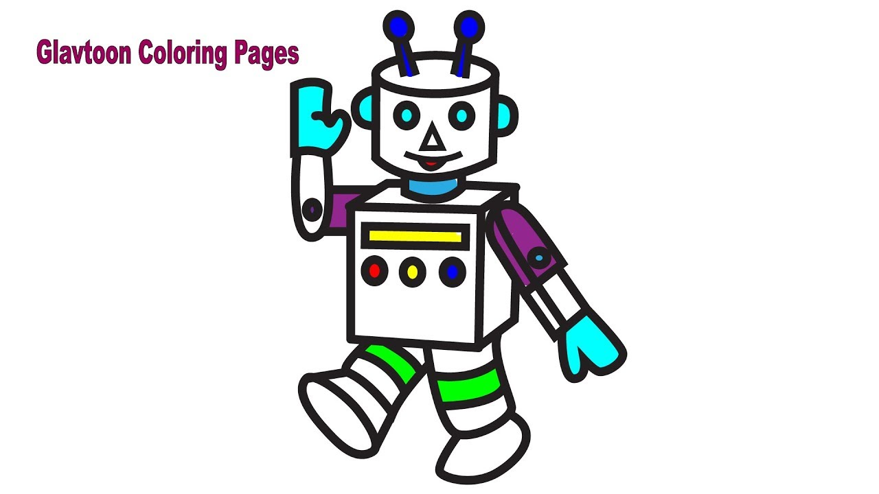 Drawing Cute Robot, Coloring Pages for Children, Coloring and ...