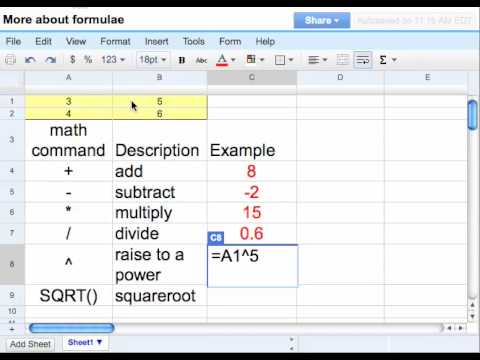 Google Spreadsheet More With Formulas Pt 1 Of 3 Youtube