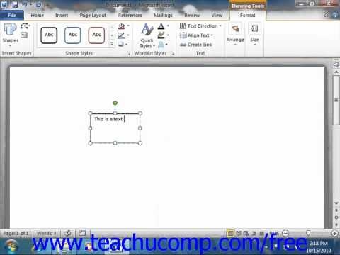 word 2010 tutorial inserting text boxes microsoft training lesson