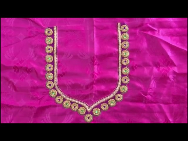 Simple Beads Kundan Zari Thread Work Blouse Design Maggam Works Youtube,Gorgeous Lehenga Blouse Designs 2020 For Girl