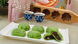 How to make MATCHA (GREEN TEA) SNOW SKIN MOONCAKE WITH ADZUKI (RED BEAN) FILLING