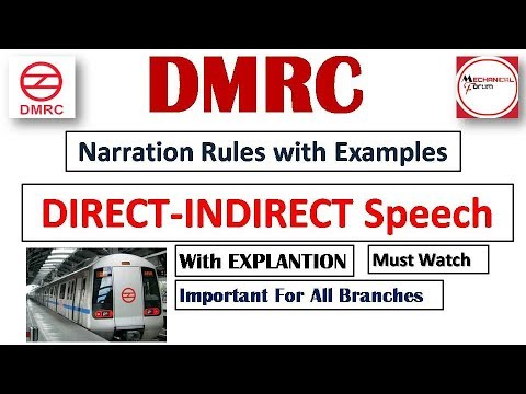 Narration Direct & Indirect Speech Rules with Examples   English Preparation for DMRC Exam 2018