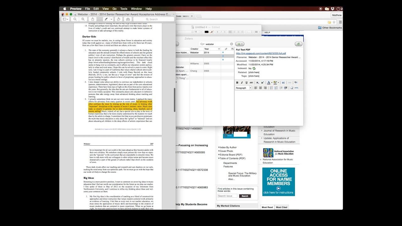 Using Zotero for academic writing