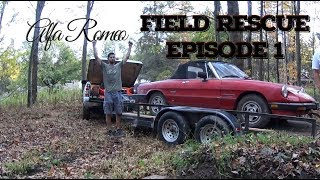 homepage tile video photo for Pulling an Alfa Romeo out of a field.