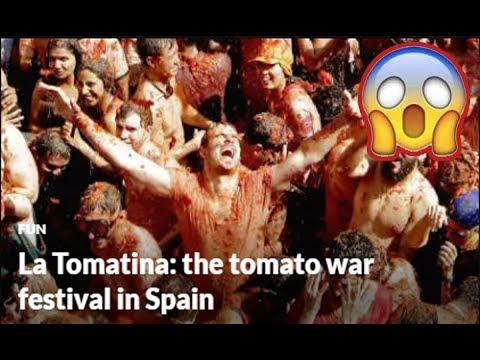 🍅La Tomatina: the tomato war festival in Spain😱