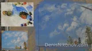Пишем перистые облака маслом. Урок Дениса Никонова