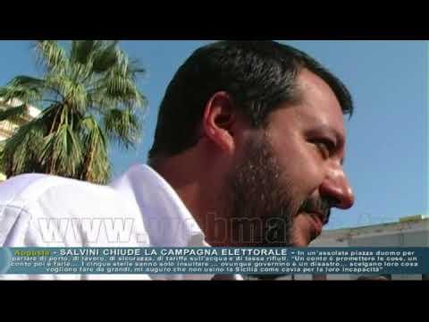 Augusta - Salvini in comizio col megafono