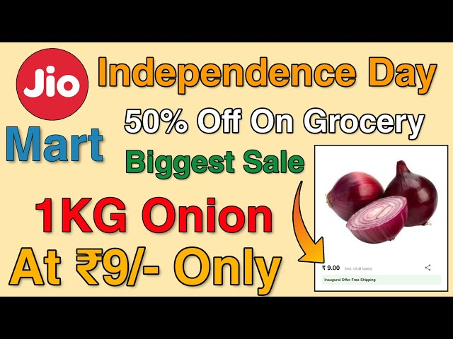 JioMart 1KG Onion at ₹9 Only + Flat 50% Off On Grocery Products | JioMart Sale 15th to 19th August