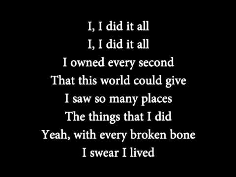 OneRepublic - I Lived lyrics