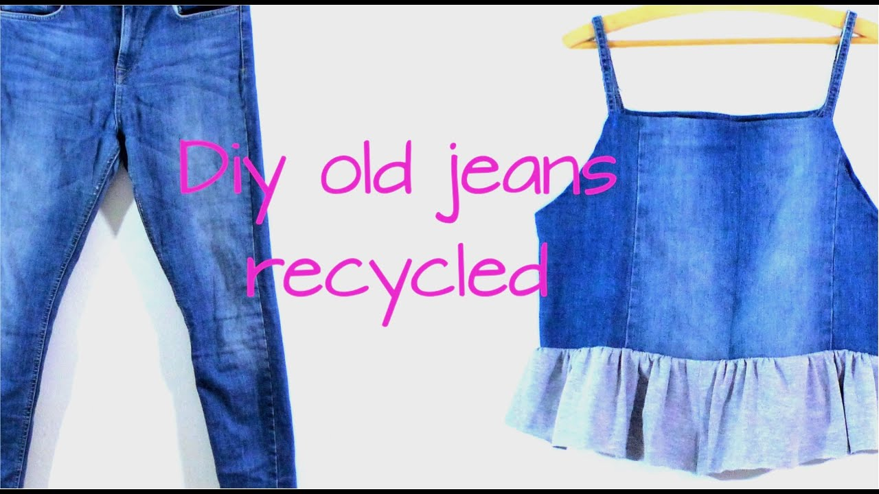 Diy old jeans recycled into a simple top - YouTube