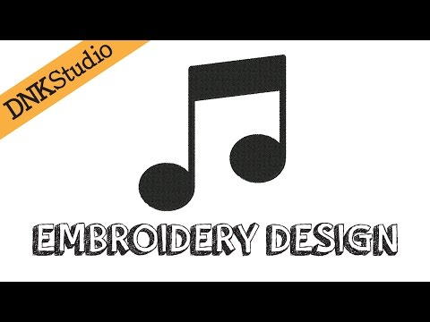 Simple Music Notes Embroidery Design