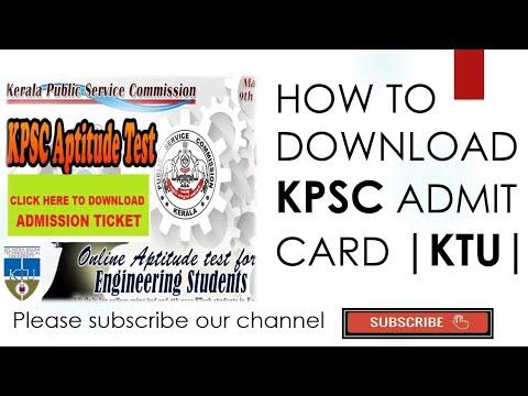 KPSC Online Aptitude Test For Engineering Colleges Admit