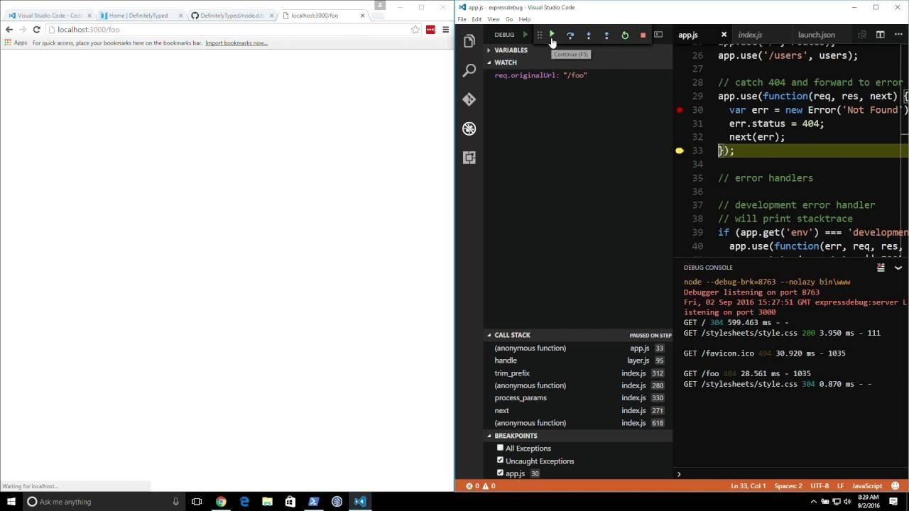 Debugging Node js with Visual Studio Code