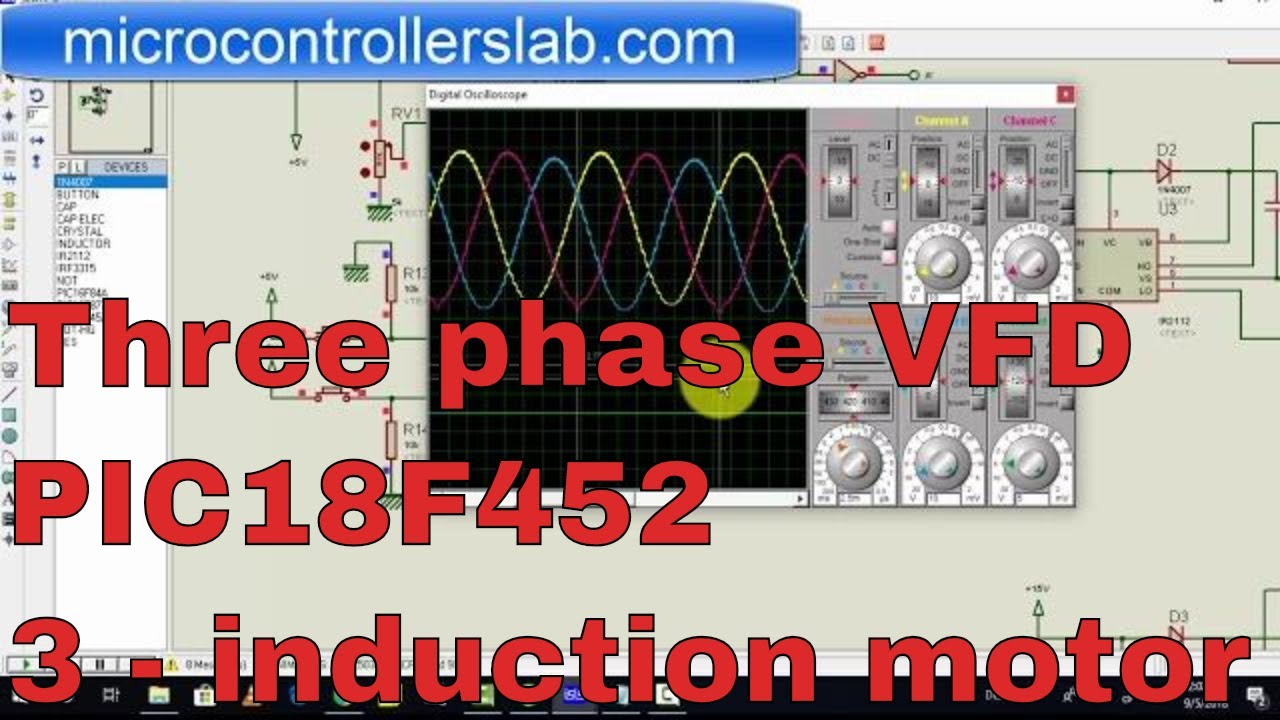 vfd speed control of three phase induction motor by v f method using pic microcontroller [ 1280 x 720 Pixel ]