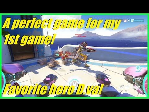 Overwatch - Got a perfect game in my 1st ever match! | D.va is favorite hero! (18 elims)