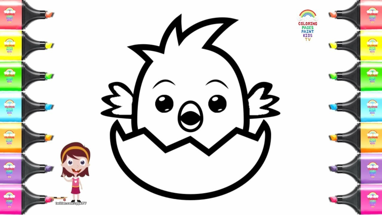 Coloring Pages For Kids Bird Hatching Egg Drawing Books