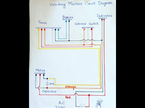 washing machine circuit diagram/timer connections/motor connection - YouTubeYouTube