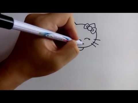 สอนวาดการ์ตูน คิตตี้ Kitty ชูสองนิ้ว ง่ายๆ หัดวาดตามได้