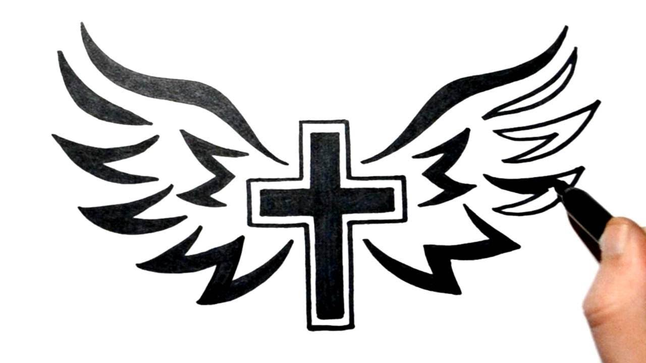 It's just a picture of Ambitious Cross With Wings Drawing