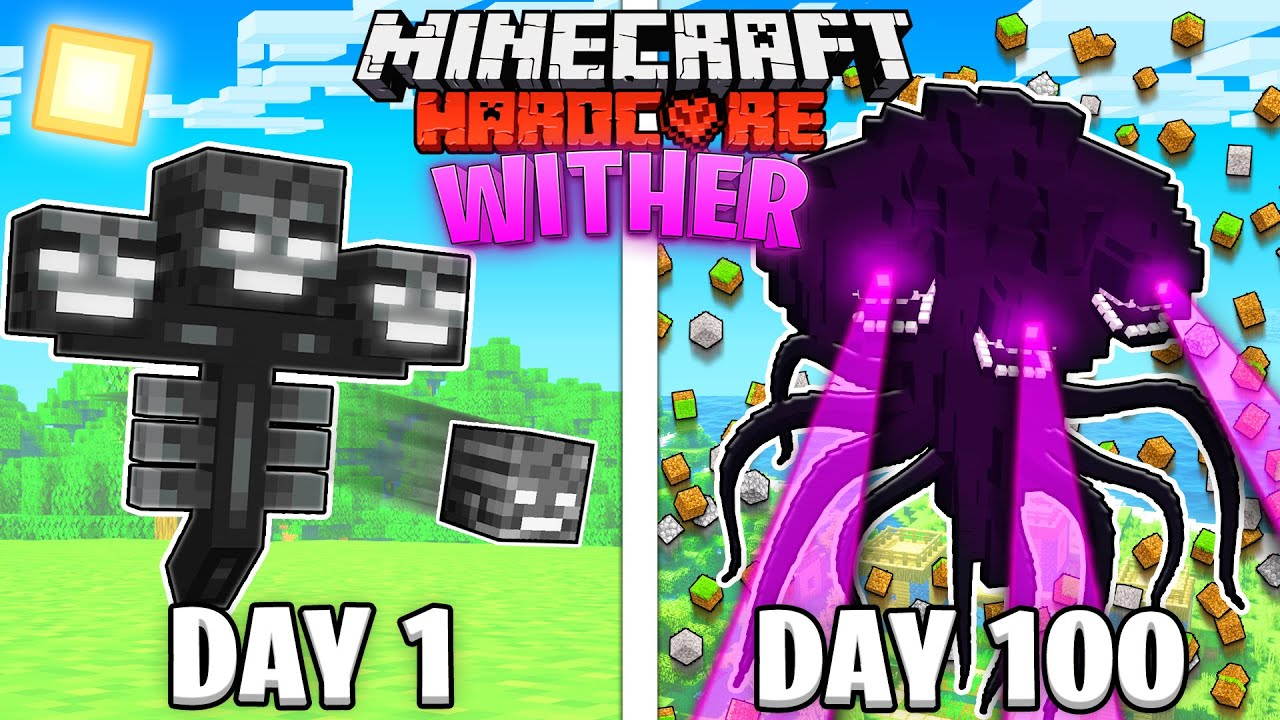 I Survived 100 Days as a WITHER in HARDCORE Minecraft