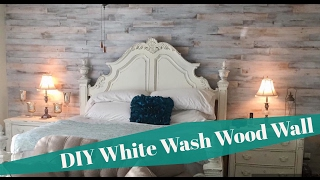 DIY SHABBY CHIC WHITE WASHED CEDAR WOOD PLANK WALL INSTALL