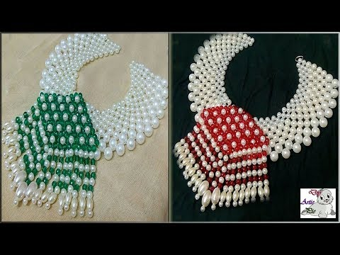 #120 How To Make Pearl  Beaded Necklace (Unique) || Diy || Jewellery Making