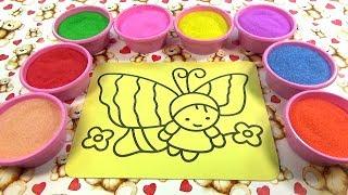 Bố là tất cả!Nhạc thiếu nhi!Đồ chơi trẻ em TÔ MÀU TRANH CÁT HÌNH BƯỚM XINH Colored Sand Painting
