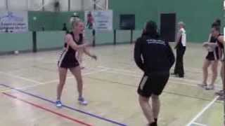 Des being hit in the crotch by a Netball