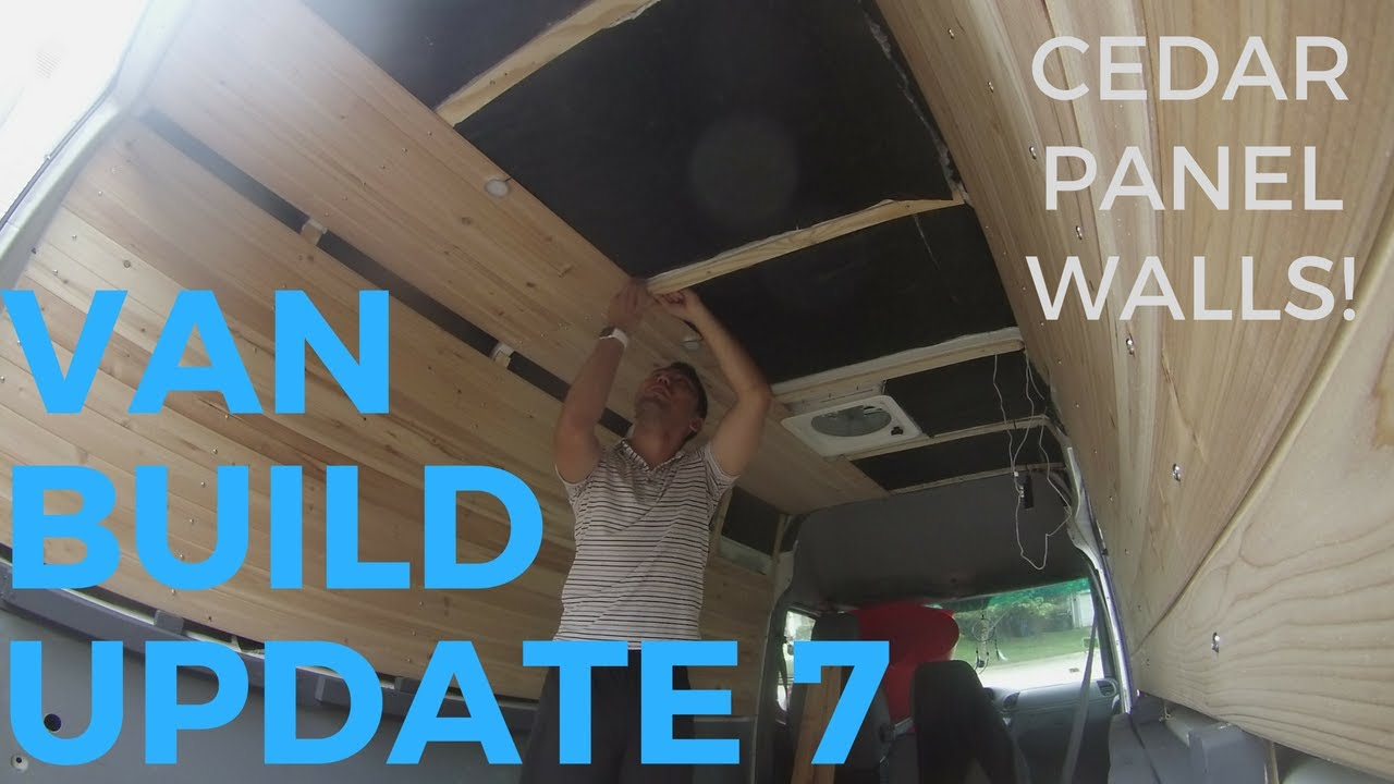 CEDAR WALLS AND CEILING INSTALLATION Sprinter Van Conversion Build