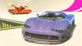 GTA 5 Online w/Crew Sumo Rooftop Challenge + Power Up Arena | SLAPTrain